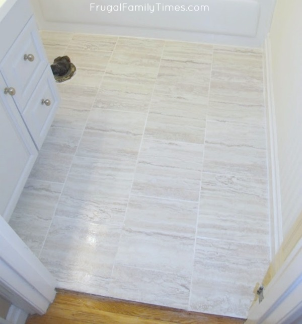 How To Grout L And Stick Tiles A Easy Floor Update Frugal Family Times