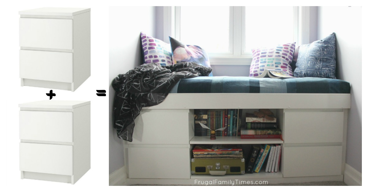 how to make built in window seat from 2 ikea nightstands