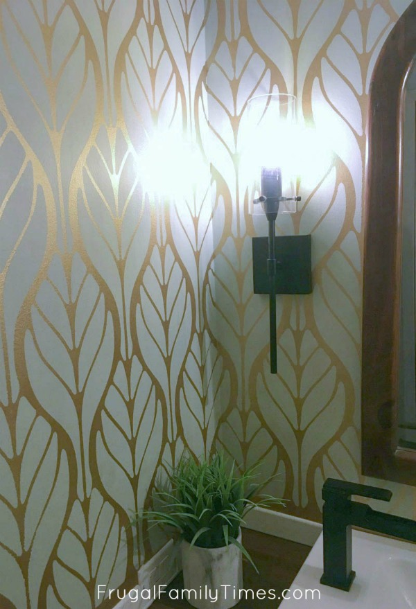 Metallic Gold And Soft Green Walls A Diy Paint Alternative To Pricey Wallpaper Frugal Family Times
